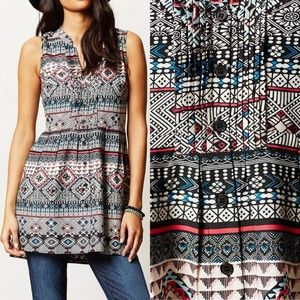 Anthropologie Sz L Two of Us Printed Pintucked Top